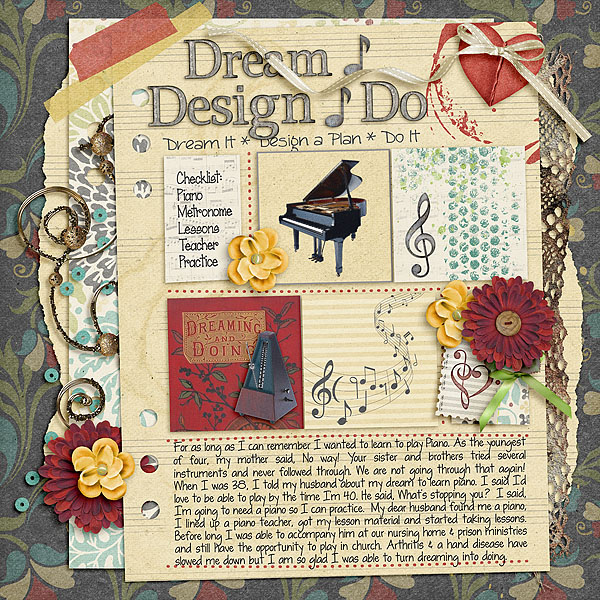 Kit: Listen to the Music Designer: Kimeric Kreations Title Alpha Kit: Dreamcatcher Designer: Kimeric Kreations Sub-Title Font: DJB Sandra Dee Regular Checklist Font: Janda Scrapgirl Dots Regular Journaling Font: LD Shelly Print Regular